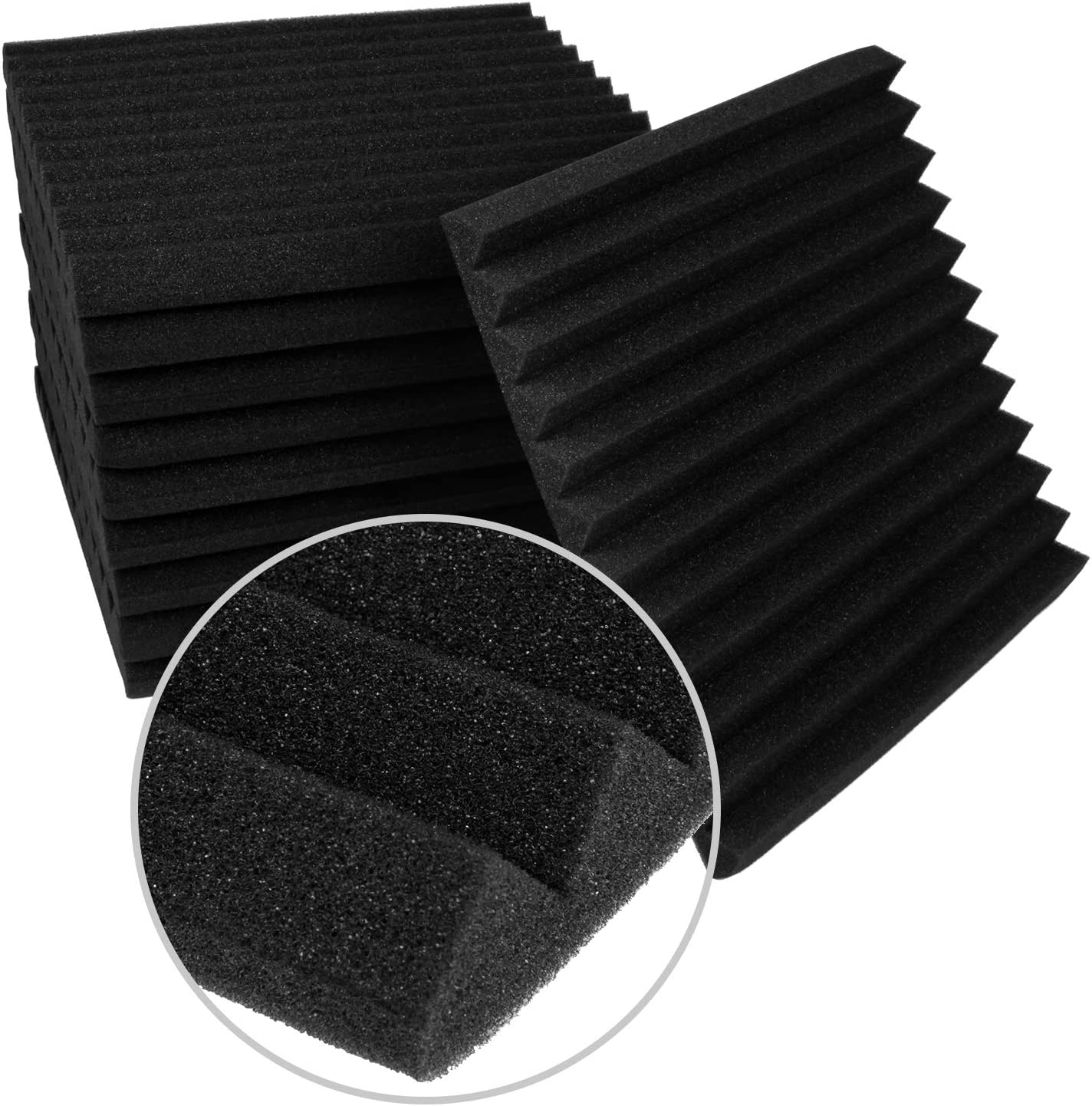 1 X 12 X 12 Acoustic Foam Sound Absorption Pyramid Studio Treatment Wall Panels Studio Wedge Tiles Vacuum Compression Packaging MOCREO 10 Pack Set Acoustic Foam Panels