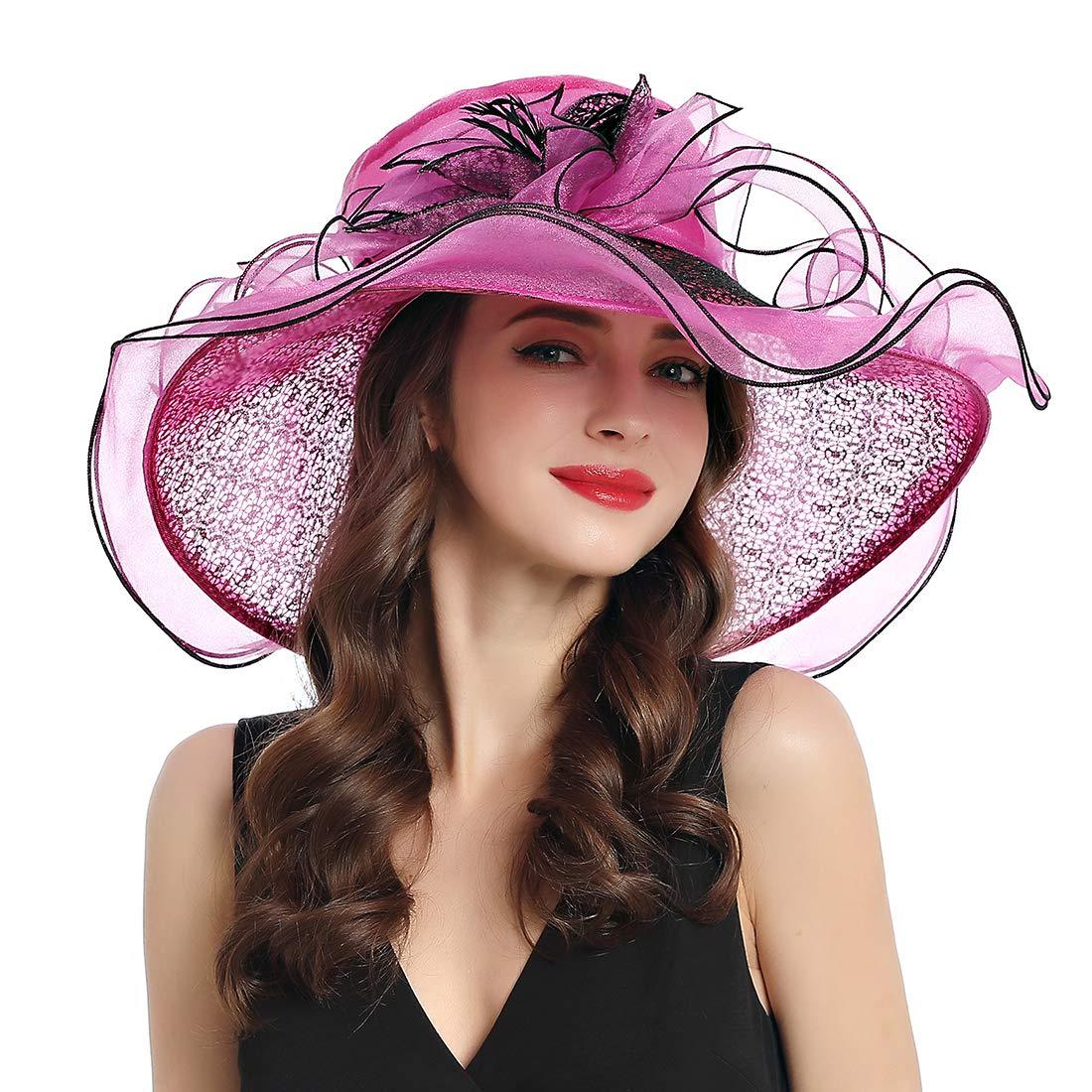 Women Kentucky Derby Fascinator Organza Church Lace Tea Party Wedding Hat