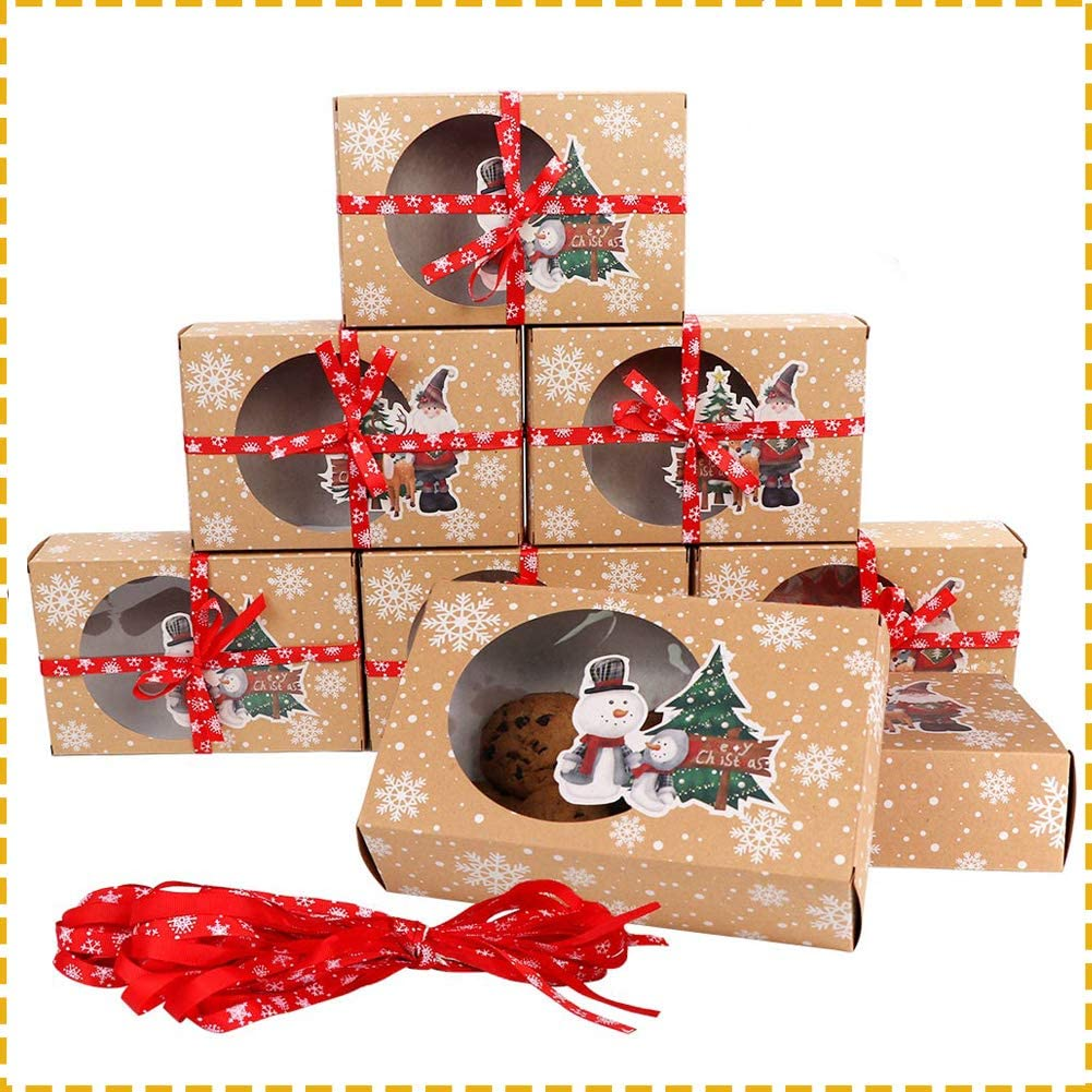 OurWarm 12pcs Christmas Cookie Gift Boxes Treat Boxes for Holiday Gift Giving and Christmas Party Supplies, Christmas Kraft Paper Food Bakery Boxes with Clear Window, Oilpaper and Ribbons