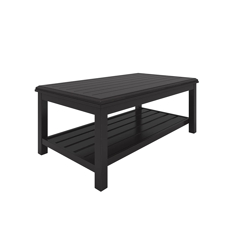 Amazon com ashley furniture signature design castle island outdoor coffee table slate style top shelf dark brown garden outdoor