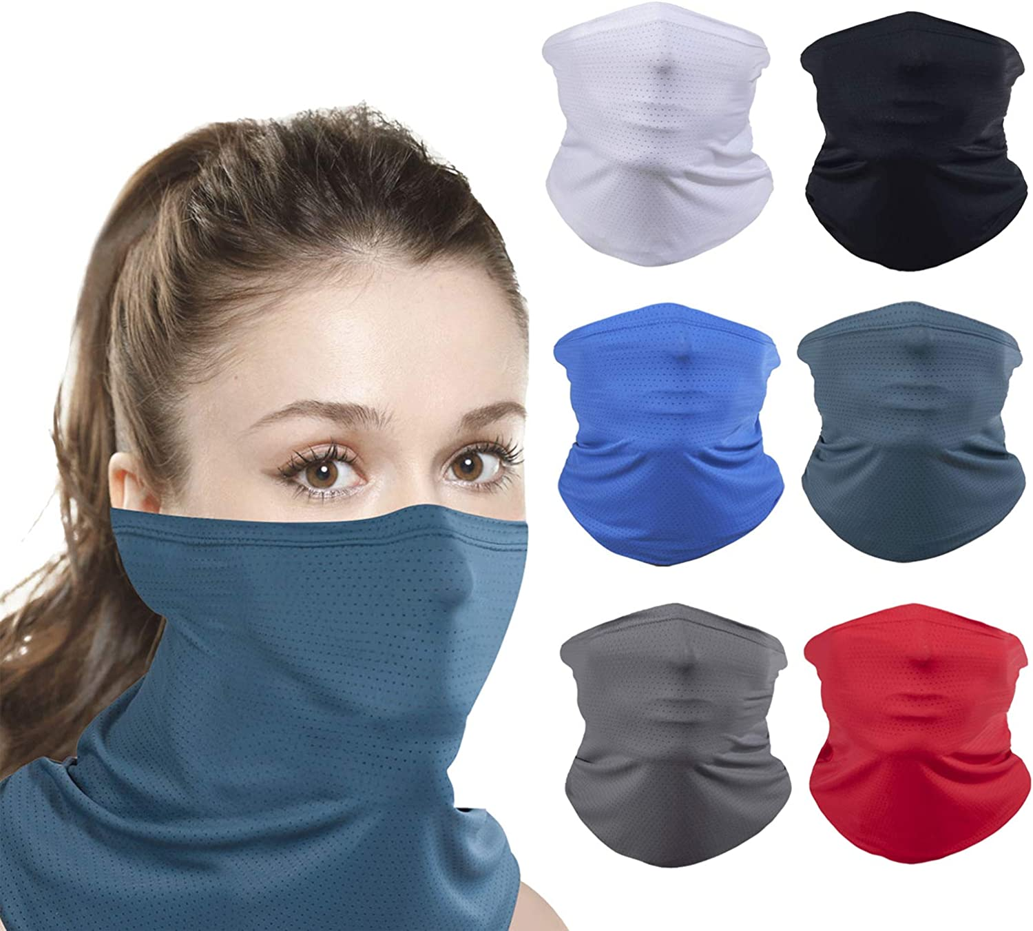 Delviemi 6 Pack Ice Silk Breathable Neck Gaiter Balaclava Bandana Cooling Sports Face Scarf Mask for Dust Outdoors