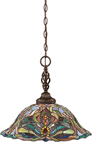 Toltec Lighting 82-DG-990 Elegant One-Light Pendant Dark Granite Finish with Kaleidoscope Tiffany Glass, 16-Inch