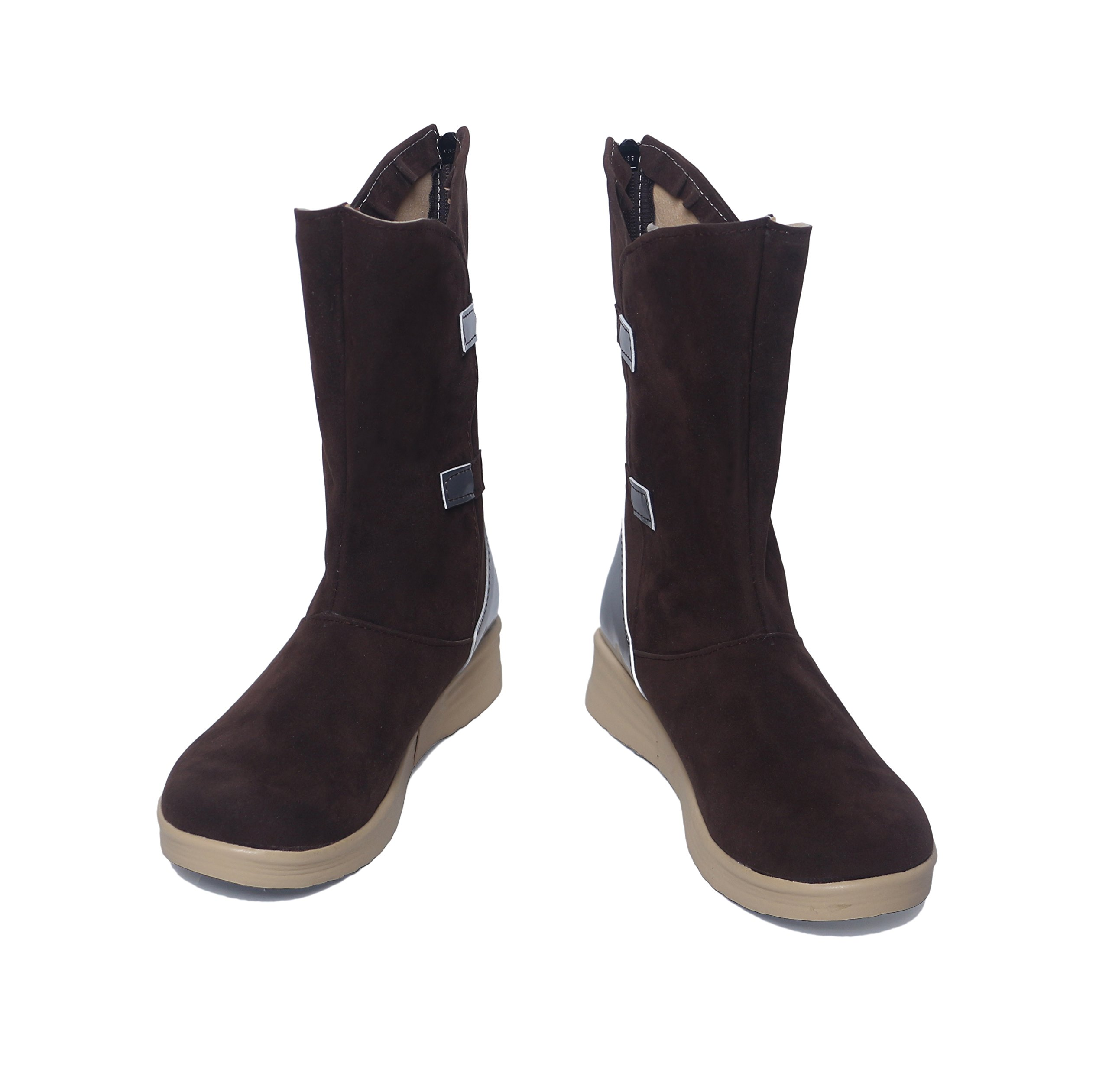 Rey Shoes Coffee Faux Suede Knee High Womens Fashion Boots Cosplay Custom Made 39