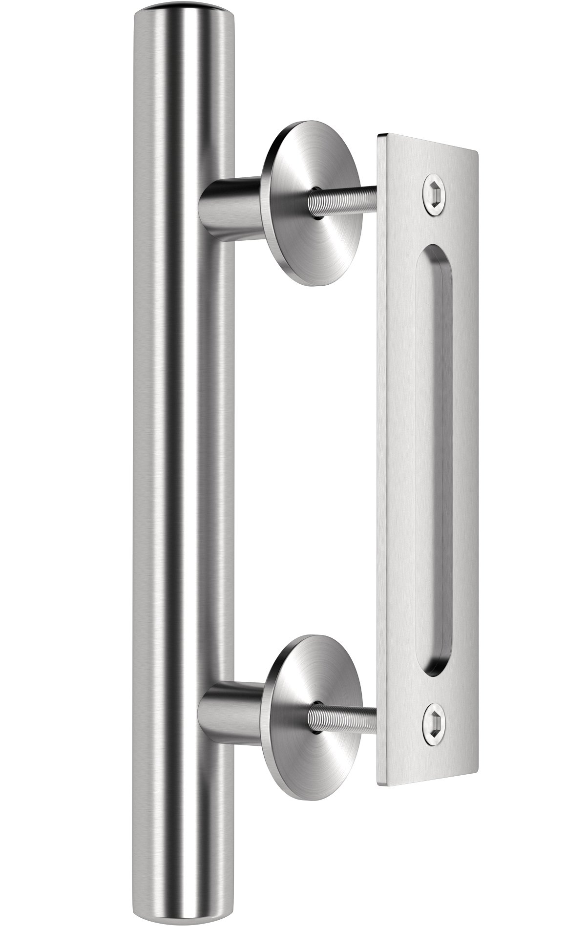 Premium Stainless Steel Modern Barn Door Handle 12'' Pull and Flush Set by Dreamline Products - for Interior Sliding Doors
