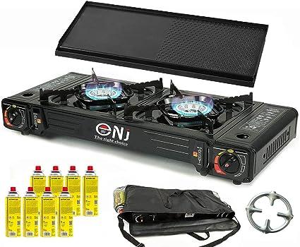 NJ DS-22 - Hornillo doble para camping (2 fuegos, 5 kW, placa de barbacoa, 8 cartuchos de gas, cruz de cocina de gas Phönix, bolsa de transporte)
