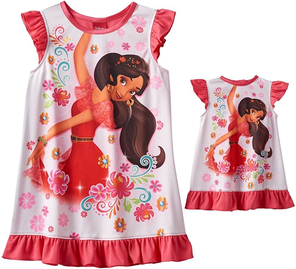 Elena of Avalor Disneys Toddler Girls Nightgown /& Doll Gown Set