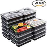 Meal Prep Containers [20 Pack] 3 Compartment Food Prep Containers BPA Free Reusable Stackable Bento Lunch Box Containers Leak Proof Microwave Dishwasher Freezer Safe,Portion Control (32 oz)