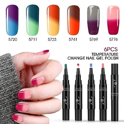 Saviland - Juego de 6 esmaltes de uñas de gel que cambian de color, secado