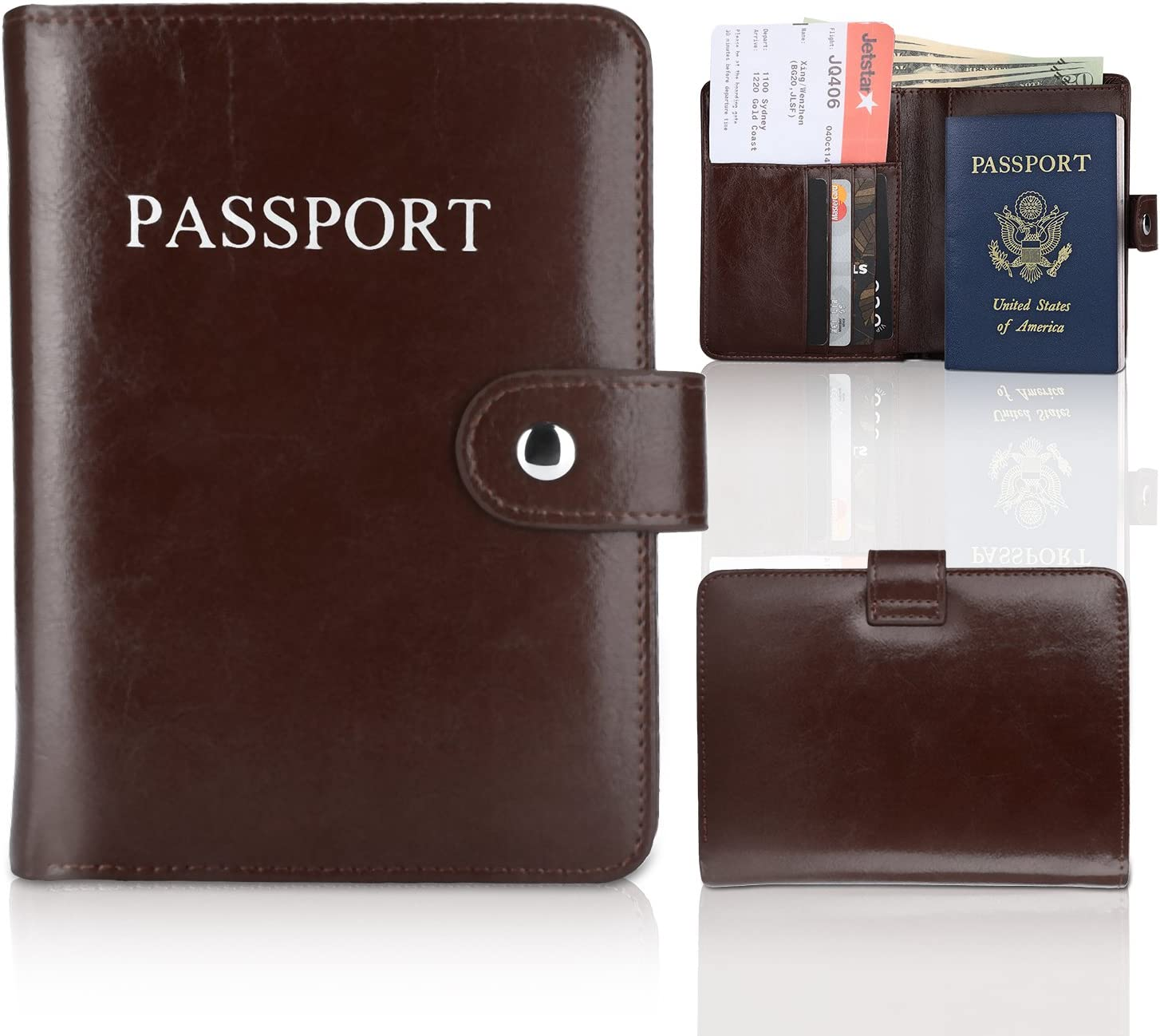 YOOMALL Leather Passport Holder Cover RFID Blocking Travel Wallet ID Card Case Document Organizer