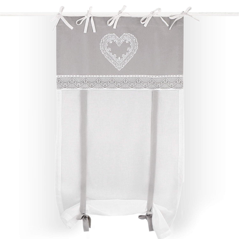 Tenda Finestra Shabby Chic 60 x 240 Colore Bianco Grigio Cuore e Merletti Collection GLShabby