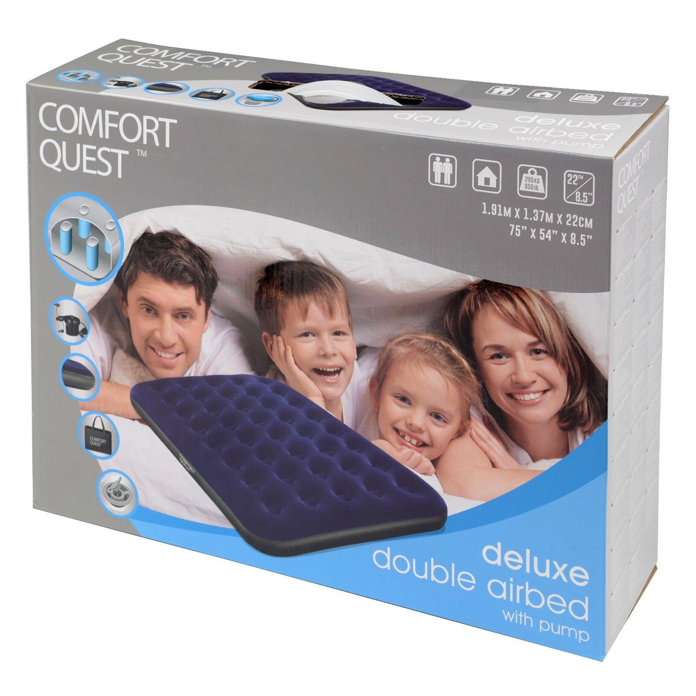 Comfort Quest Matelas double gonflable de camping et pompe /électrique