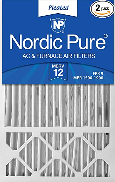 Nordic Pure 16x21x1 Exact MERV 10 Pleated AC Furnace Air Filters 2 Pack