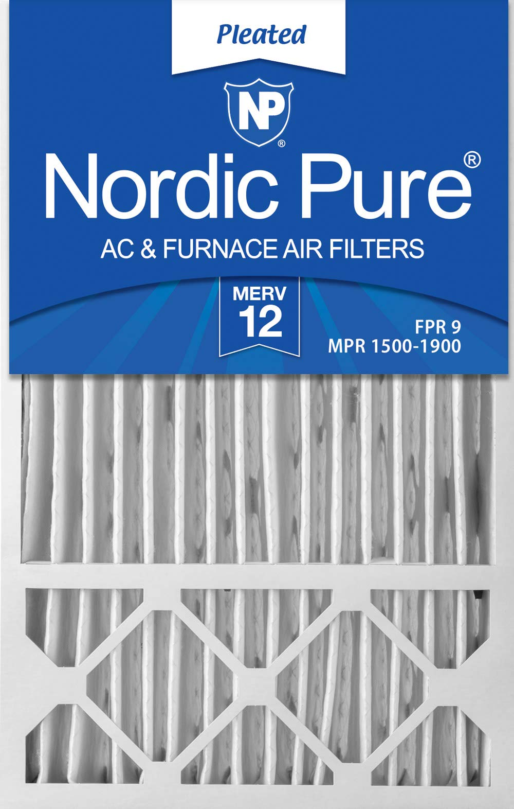 Nordic Pure 16x25x4/16x25x5 (15 3/4 x 24 3/4 x 4 3/8) Honeywell FC100A1029 Replacement Pleated AC Furnace Air Filters MERV 12, Box of 2 by Nordic Pure