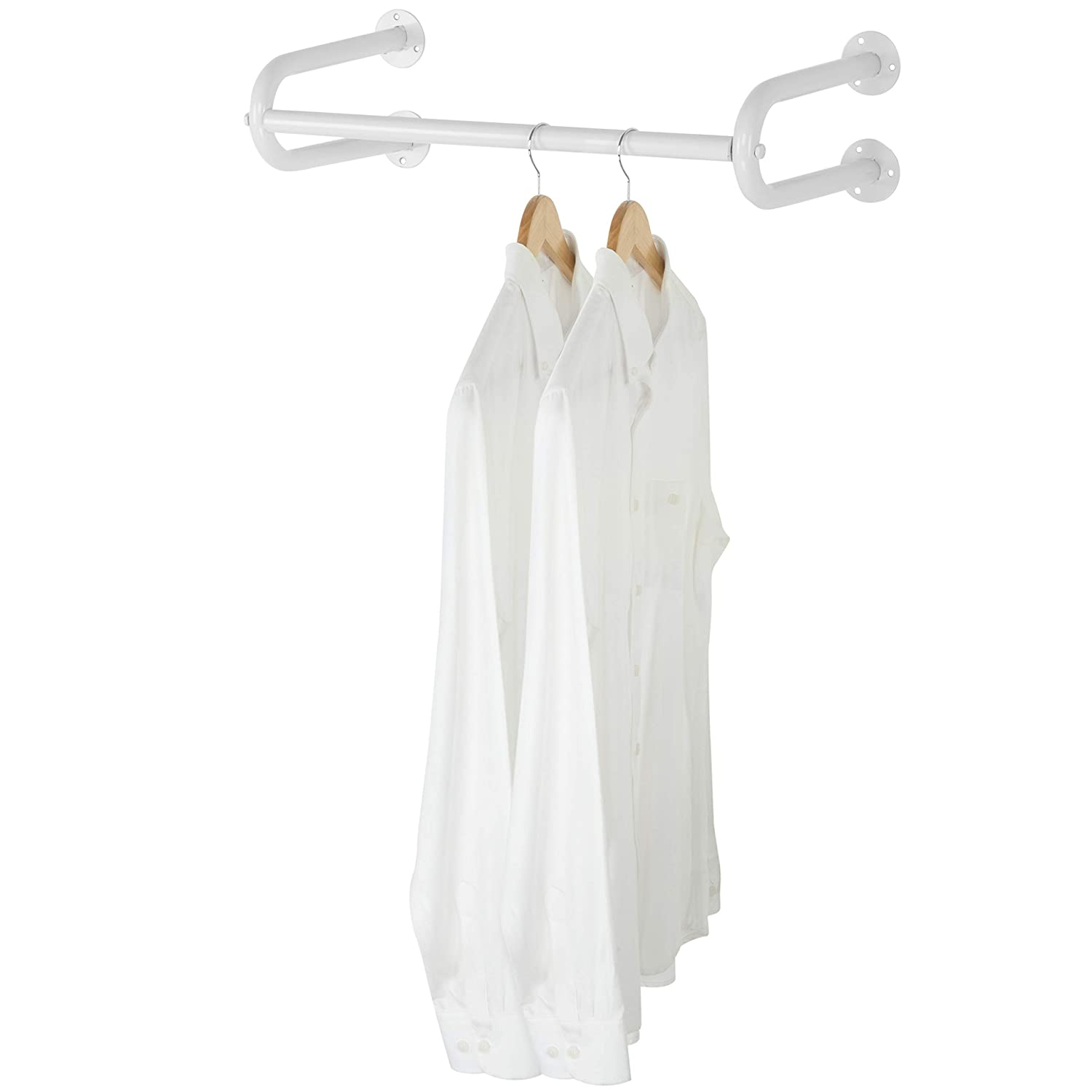 MyGift 24-Inch White Metal Wall-Mounted Garment Hanging Bar