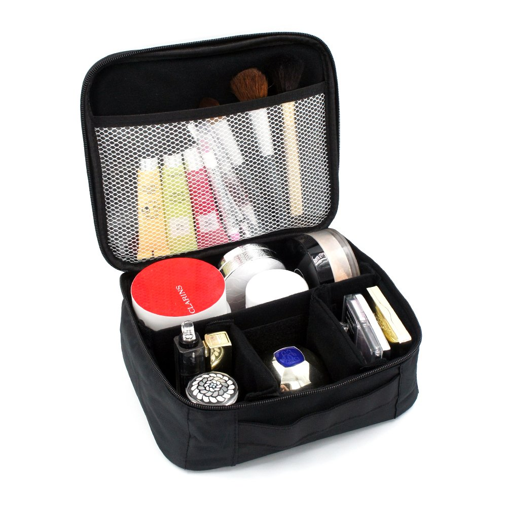 Portable Travel Cosmetic Bag Makeup Case Mini Makeup Train Case Zipper Packing Organizer Camera Storage Bag with Top Handle and Removable Velcro Divider for Free Combined (mesh pocket)