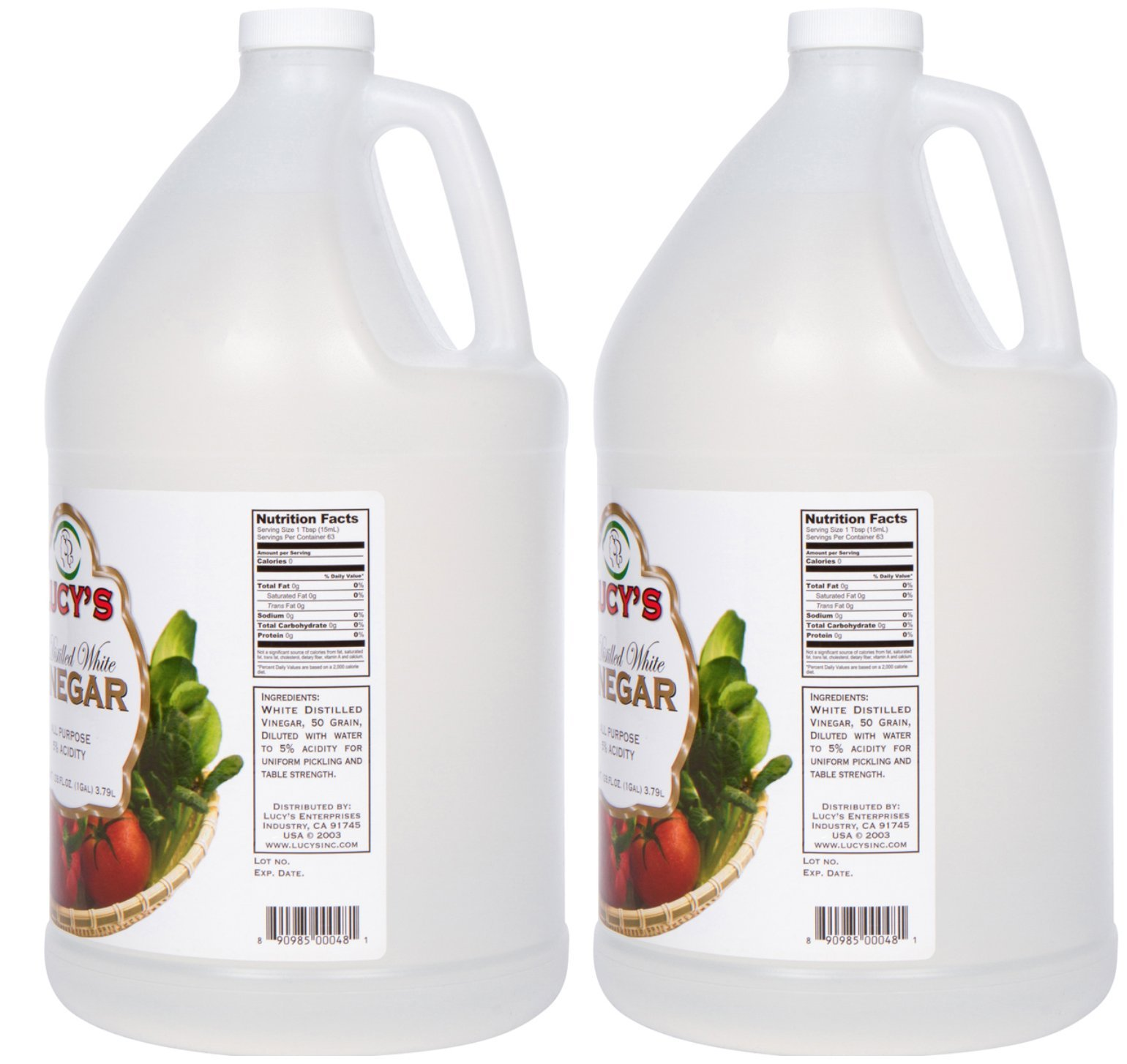 Lucy's Family Owned - Distilled White Vinegar, 1 Gallon 128oz. (Pack of 2) 2 USED NATIONWIDE - From health benefits and beauty hacks to cleanliness and cooking, Lucy's 5% Distilled White Vinegar is simply the right choice! Because of its extremely affordable price, absence of preservatives, durable bottle design, super-secure seal, and Kosher Certification, this vinegar is currently being used nationwide. Customers around the country have fallen in love with Lucy's vinegar! COOKING/HEALTH - Spices up dipping sauces, preserves food, prevents food spoilage, develops flavor, makes homemade bread crusts golden brown, prevents cheese from molding, freshens wilted vegetable's, substitutes for wine, salt, or buttermilk, brightens hair, softens cuticles, whitens teeth, prevents nail polish from chipping, and can be used as a sunburn relief. CLEANING - Brightens colored clothes, removes deodorant stains, gets rid of water rings on furniture, eases ballpoint-pen marks, cleans window blinds, restores rugs, removes carpet stains, brightens up brickwork, revitalizes wood paneling, revitalizes leather furniture, conceals scratches in wood furniture, removes candle wax, unclogs and deodorizes drains, gets rid of smoke odor, cleans chrome and stainless steel, and disinfects cutting boards.