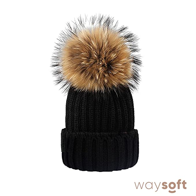 4cca5862bd6c86 WaySoft Genuine Fur Pom Pom - Knit Beanie Matching Ski Beanie Winter Cap Hat  (Black