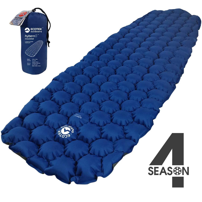 エコテックアウトドアHybern8 Insulated 4 Season超軽量インフレータブルスリーピングパッド、ハイキング用バックパックとキャンプ - 輪郭を描いたFlexCellデザイン - 寝袋やハンモックに最適(オーシャンブルー)   B07GZJDZWC