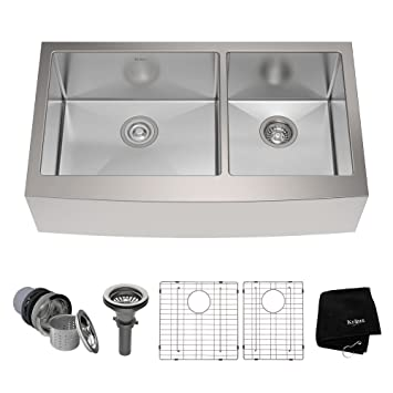 Kraus KHF203 36 36 Inch Farmhouse Apron 60/40 Double Bowl 16 Gauge Stainless