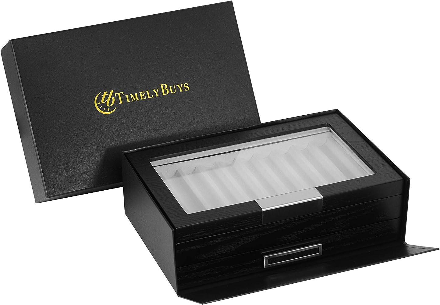Caja organizadora de Madera de ébano Negro para Guardar bolígrafos y estilográficas, con Ventana de Cristal: Amazon.es: Relojes