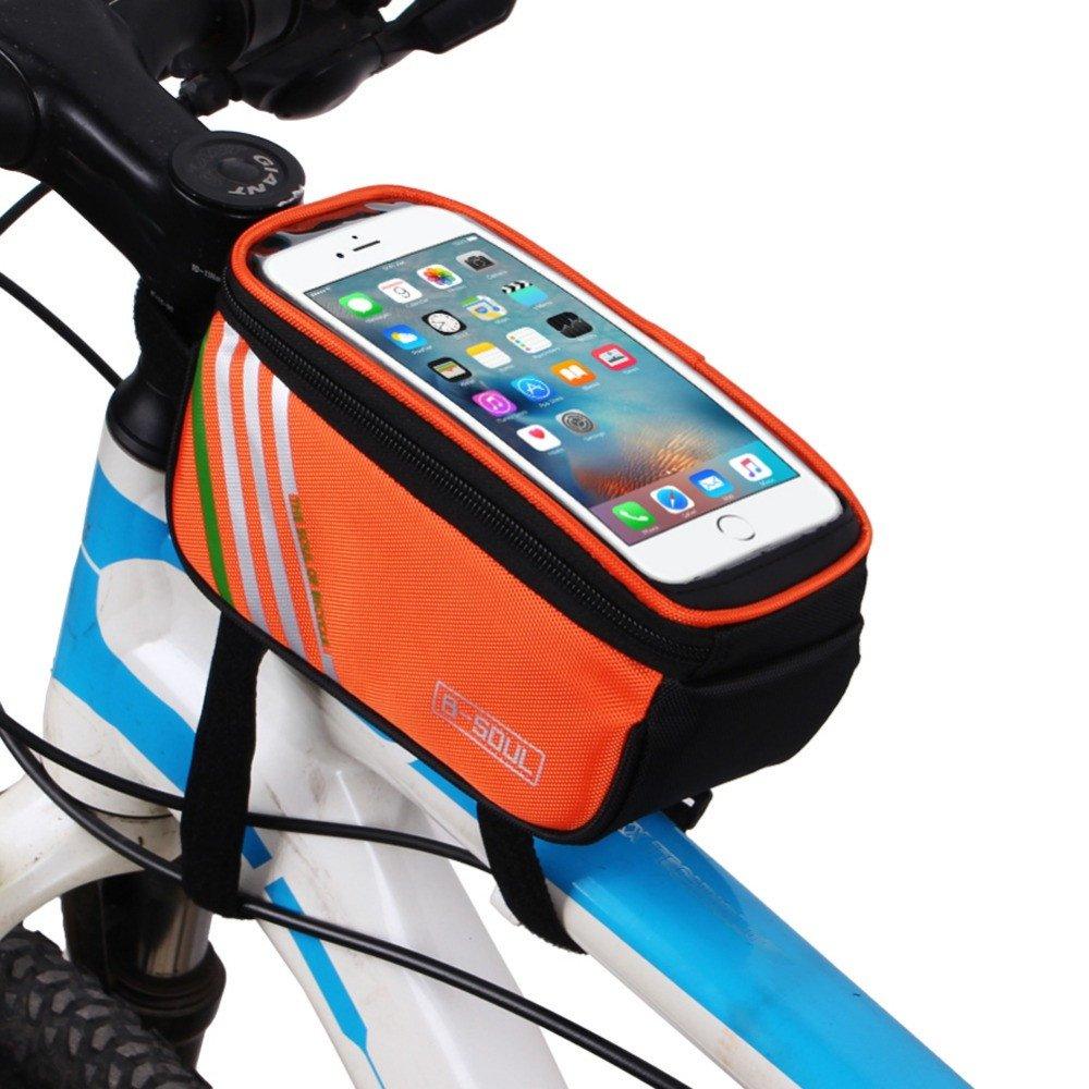 Fahrrad Tasche Fahrradlenkertasche Rahmentasche Handy-Halterung f/ür 5,5 Zoll Smartphone //Schwarz Blau //Rot //Orange/_Colorful