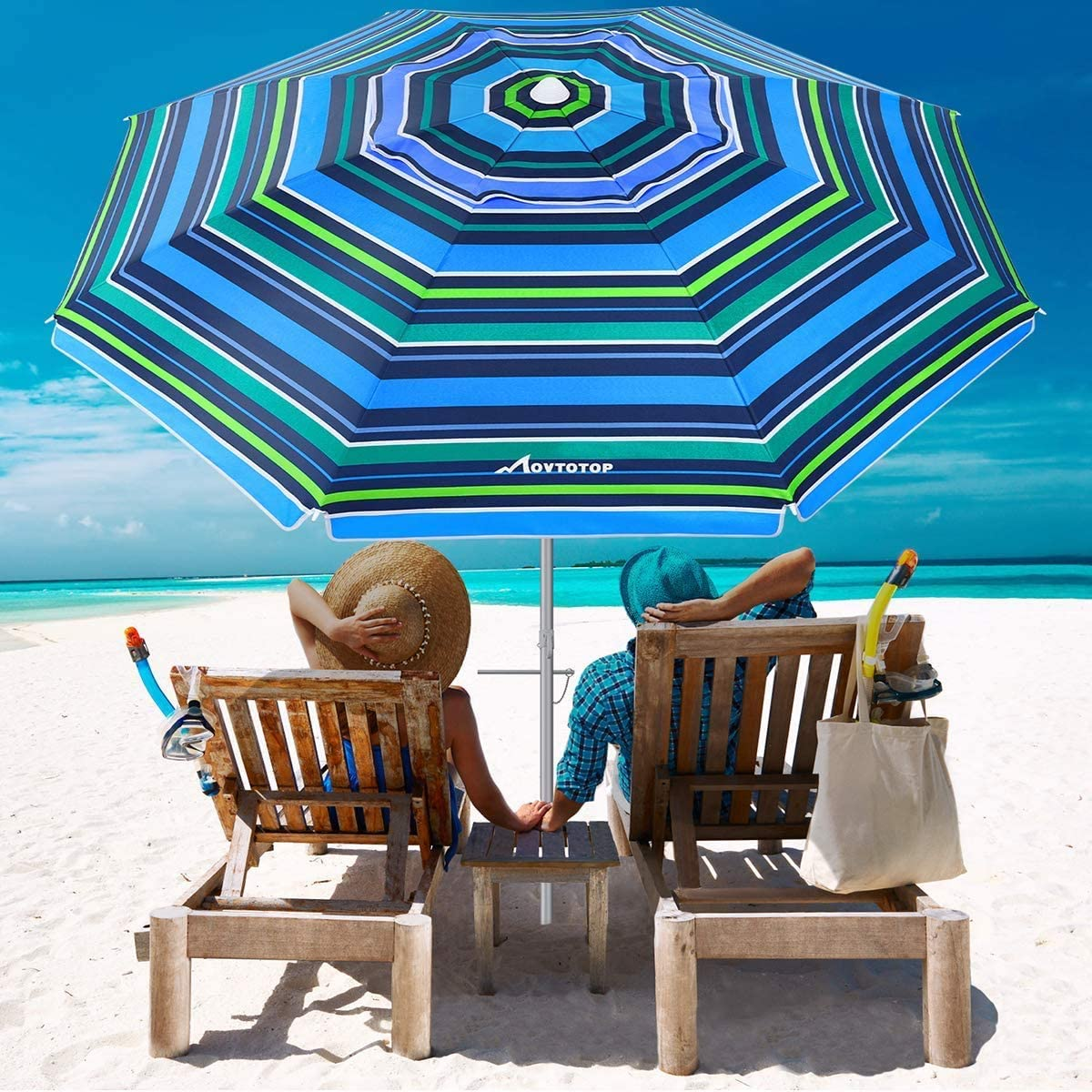 MOVTOTOP Beach Umbrella, 6.5ft Patio Umbrella with Tilt Mechanism, Portable UV 50 Protection Beach Umbrella with Carry Bag for Outdoor Patio