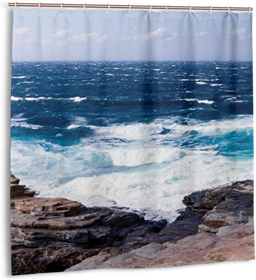 Shower Curtain Rock Reef Sea Ocean Red Lighthouse Waterproof Polyester Bath Curtain 60x72