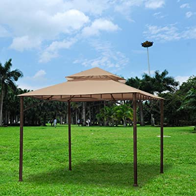 "Tan 2 Tier Patio Sun Shade 10x10 Ft Gazebo Top Replacement Canopy Polyester 10' Ft/ 121"" Inch Square Garden Canopy: Garden & Outdoor"