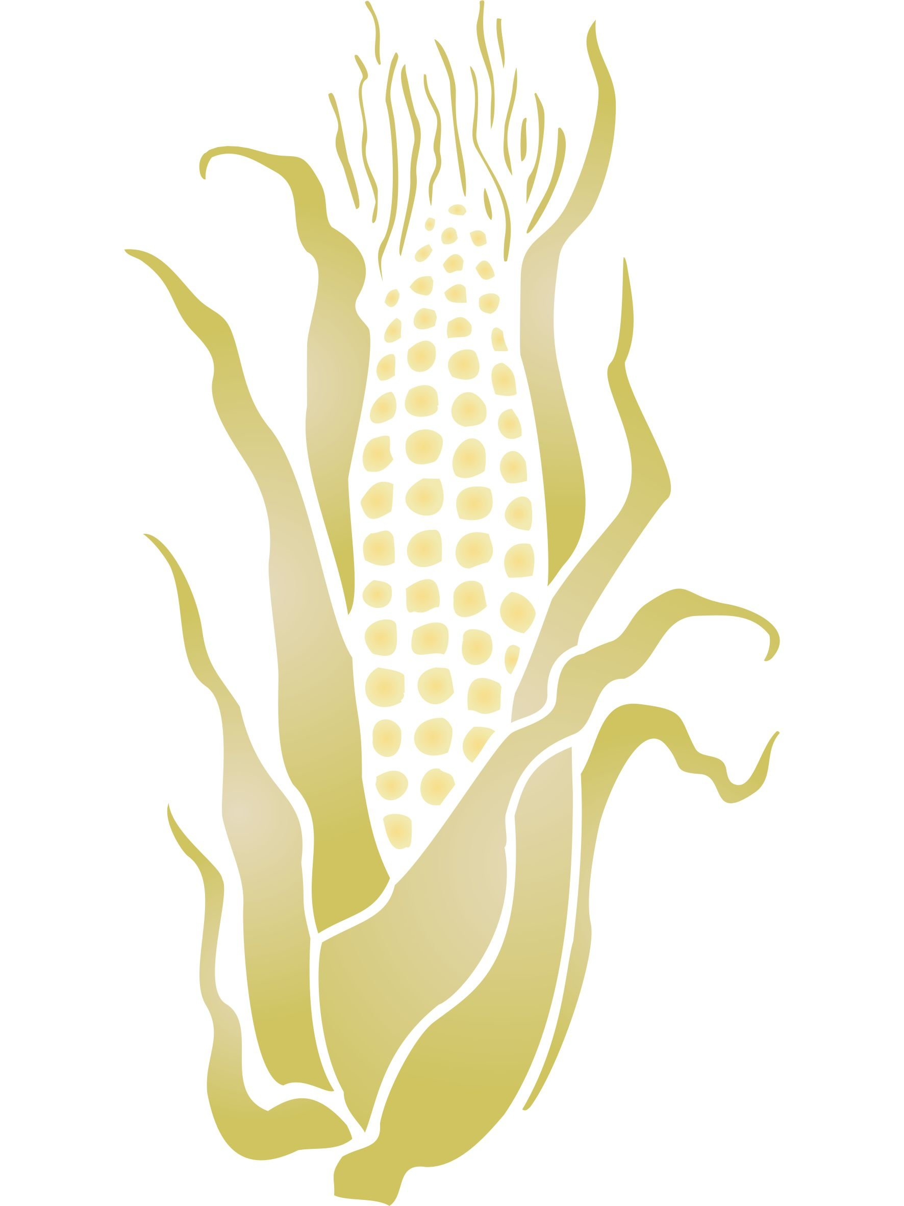 Sweet Corn Stencil - (size 6.5''w x 12''h) Reusable Wall Stencils for Painting - Best Quality Vegetable Kitchen Stencil Ideas - Use on Walls, Floors, Fabrics, Glass, Wood, Terracotta, and More... by Stencils for Walls