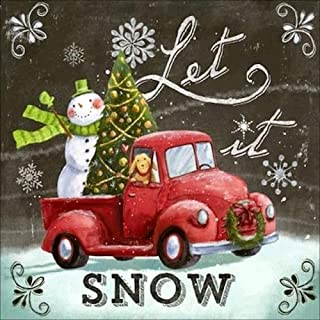 Let it Snow Christmas Diamond Painting - PigBoss Full Diamond Embroidery Arts Crafts Cross Stitch Kits - Christmas Tree Snowman Car Diamond Painting Decor for Adults (11.8 x 11.8 inches)