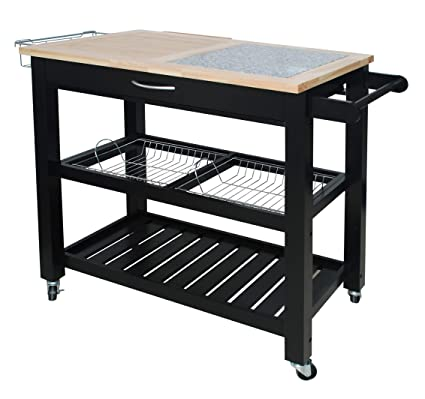 Amazon.com - Home Basics Bamboo and Granite Top Rolling ...