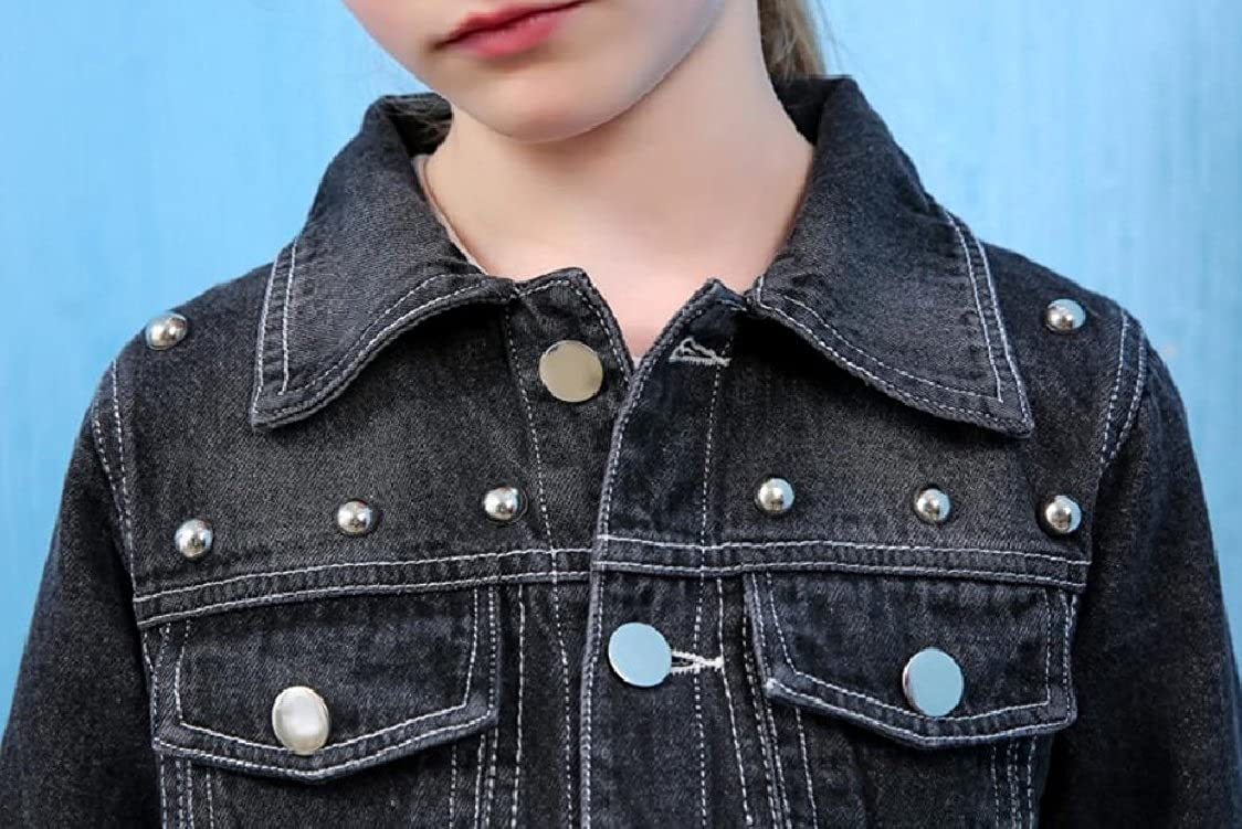 GodeyesChildrenscostumes Godeyes Girls Fashion Open Front Single-Breasted Cardi Coat Rivet Outwear Jean Coat