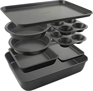 Elbee-Home 8-Piece Oven Nonstick Bakeware Set, Patented Space-Saving Self-storage Design.