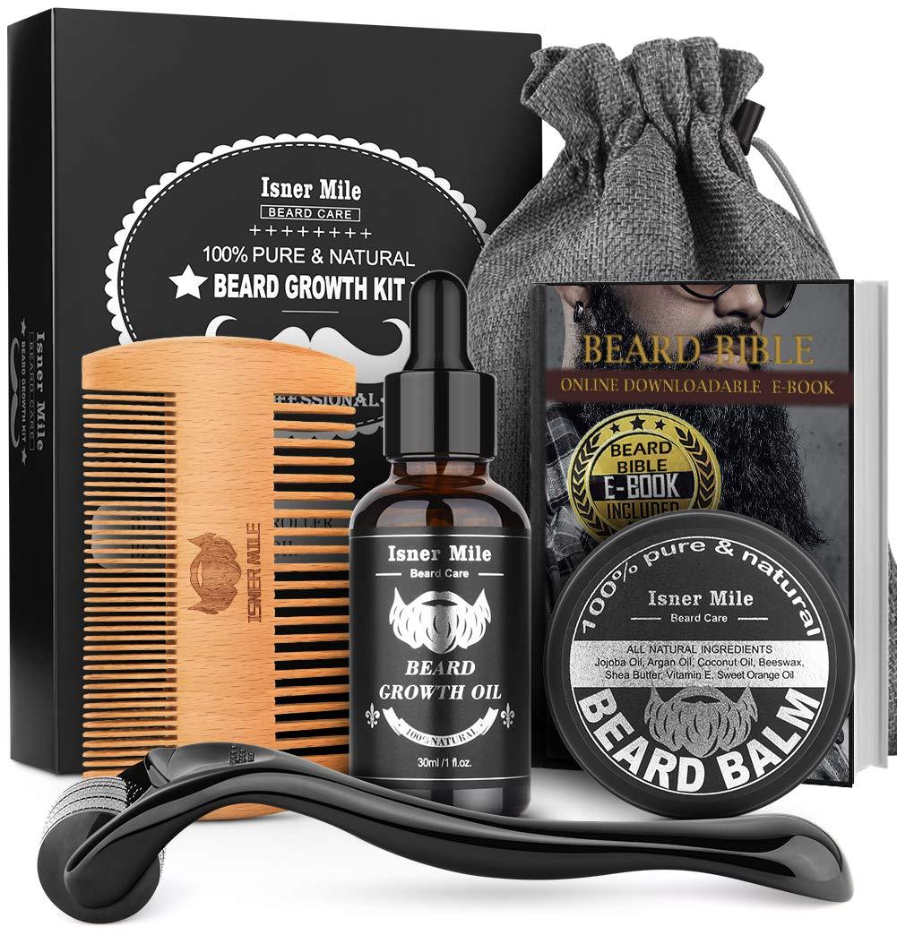 Beard Growth Kit, Beard Roller Kit, Natural Beard Growth Oil for Patchy Beard, Beard & Mustache Facial Hair Growth, Conditioner Balm, Handmade Comb, Storage Bag, Gifts for Men Him Dad Father Boyfriend