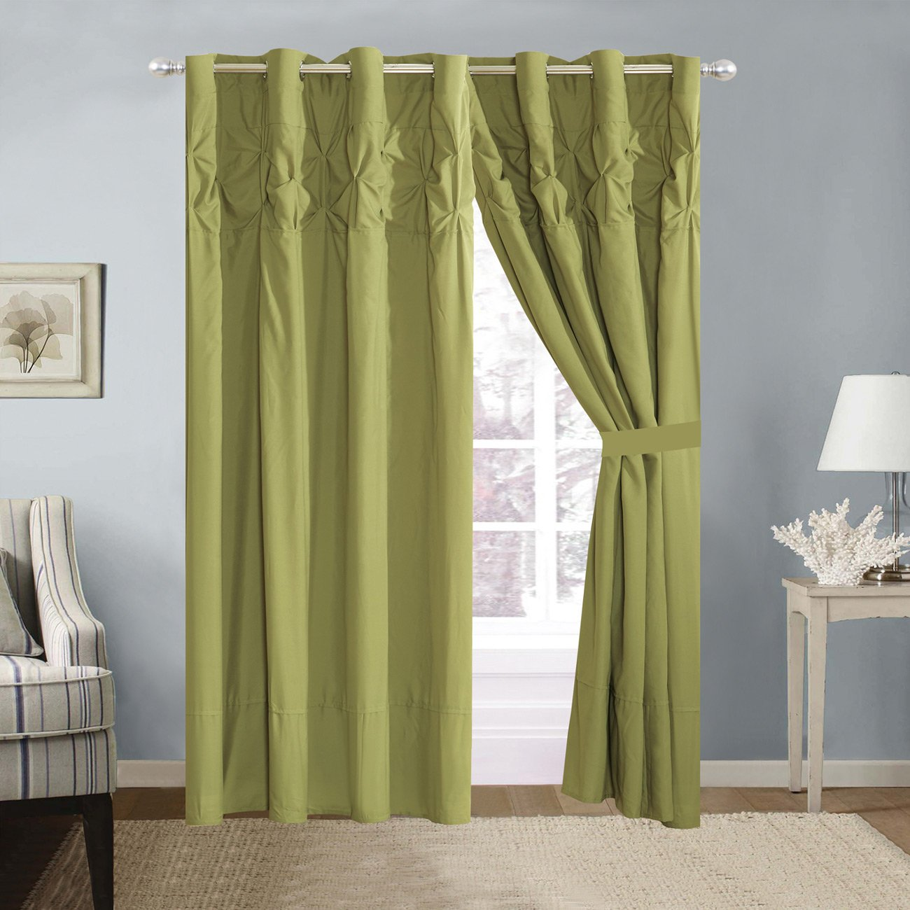 4 Piece Solid SAGE Green Double-Needle Stitch Pinch Pleat Grommet Window Curtain Set 108 x 84-inch, 2 Panels 2 Ties