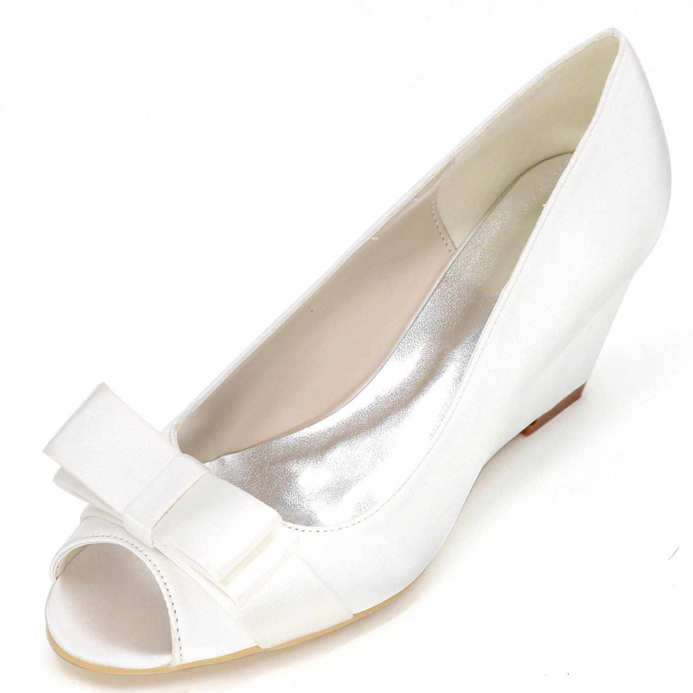 Elobaby Zapatos De Boda De Las Mujeres Y9140-12 Satin Platform Lady 35-42 TamañO Sandalias De La Cinta New/Peep Toe/6.5cm Heel 39 EU|White
