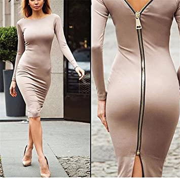 Winter Bodycon Dress Deep V Women Evening Party Midi Dresses Wiggle Christmas Pencil Dress khaki S