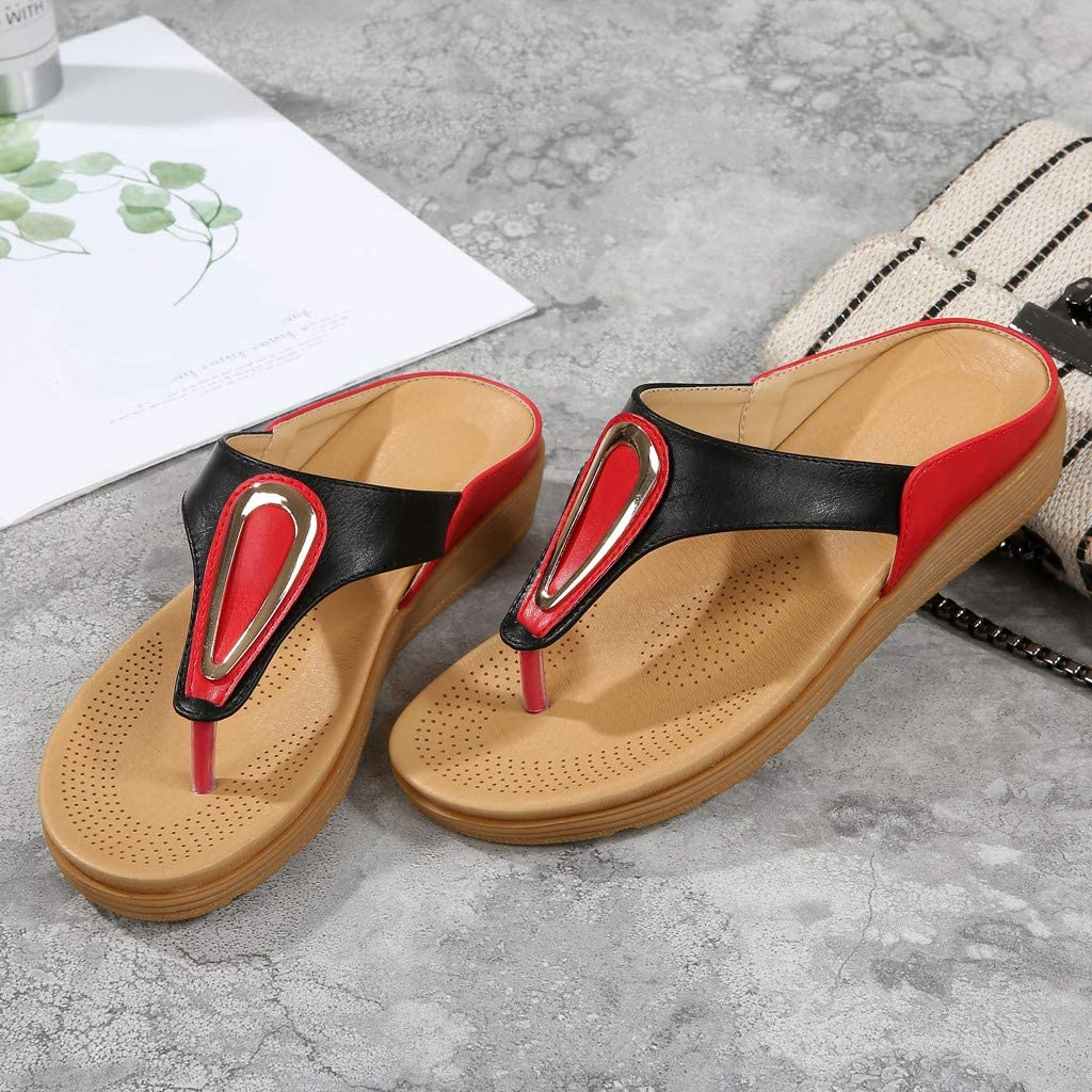 ZOMUSAR Women Summer Bohemian Ethnic Slippers Flat Round Head Slippers Casual Flip-Flops Shoes Slippers