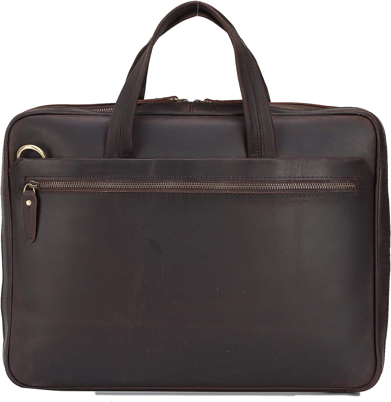 TIDING Maletín de cuero genuino para hombre de 15.6 pulgadas, bandolera de hombro, delgada, marrón, para negocios, viajes, trabajo