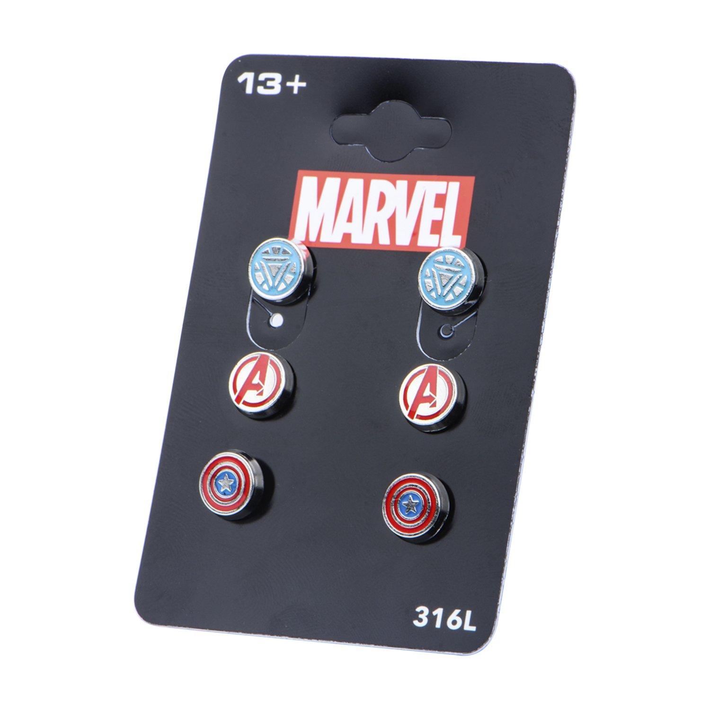 Marvel Comics Unisex Women Avenger Logo Pack Stainless Steel Round Stud Earrings