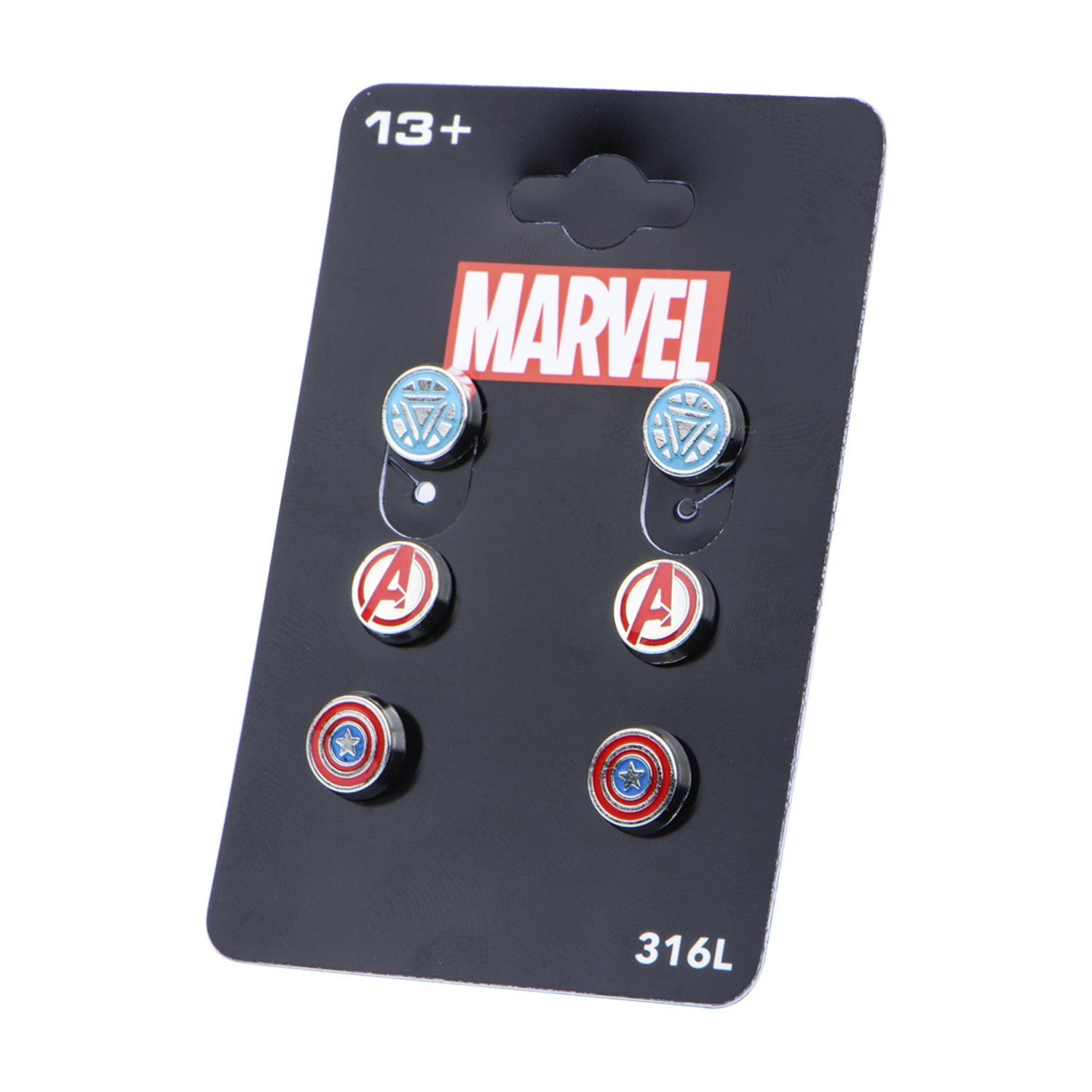 Marvel Comics Unisex Women'S Avenger Logo Pack Stainless Steel Round Stud Earrings