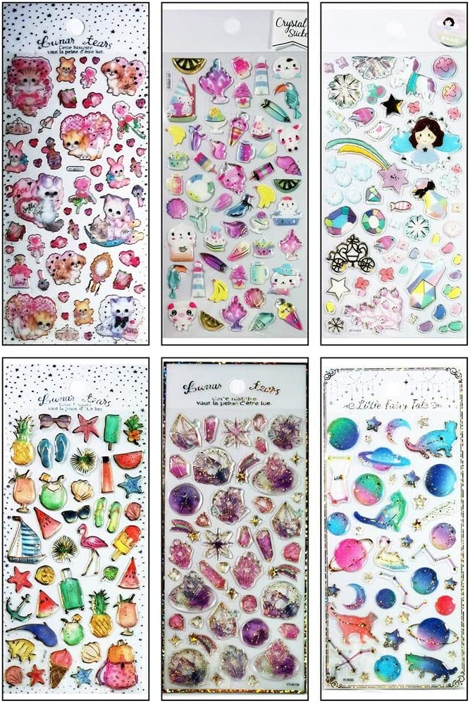 Umama Stickers 6 Sheets Cute Flower Kitten cat Fast Food Drinks Planet Space Tree Beach sea Gel Clings Glue Decal Sticker Cartoon Art Crafts Design Decoration Scrapbooking for Teacher Kids