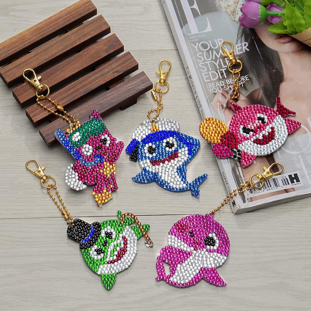 Soleebee 5pcs DIY 5D Full Drill Diamond Painting Key Chain by Number Kit Mosaic Making Double-Sided Drill Pendant Crystal Rhinestones Keychain Bag Charms Gift Cute Owl
