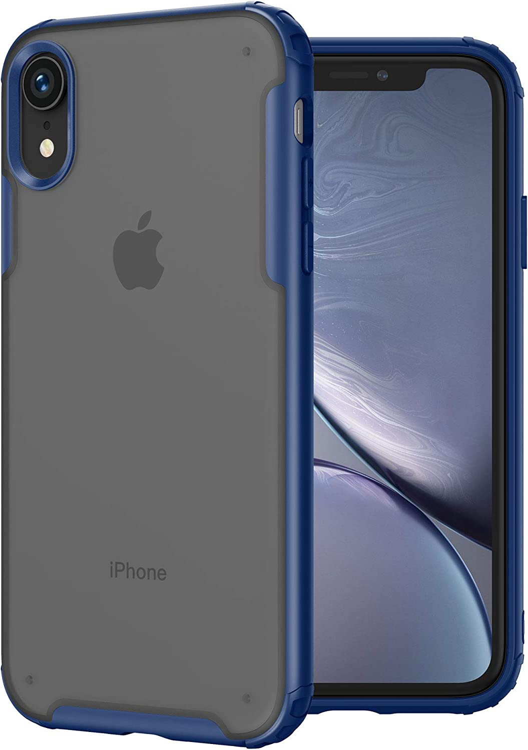 MRYUESG Compatible with iPhone XR Case, [Military Grade Drop Tested] Translucent Matte Hard PC Back with Soft Silicone Edges, Shock-Proof Bumper, Heavy Duty Protective, Slim Thin Cover, Blue