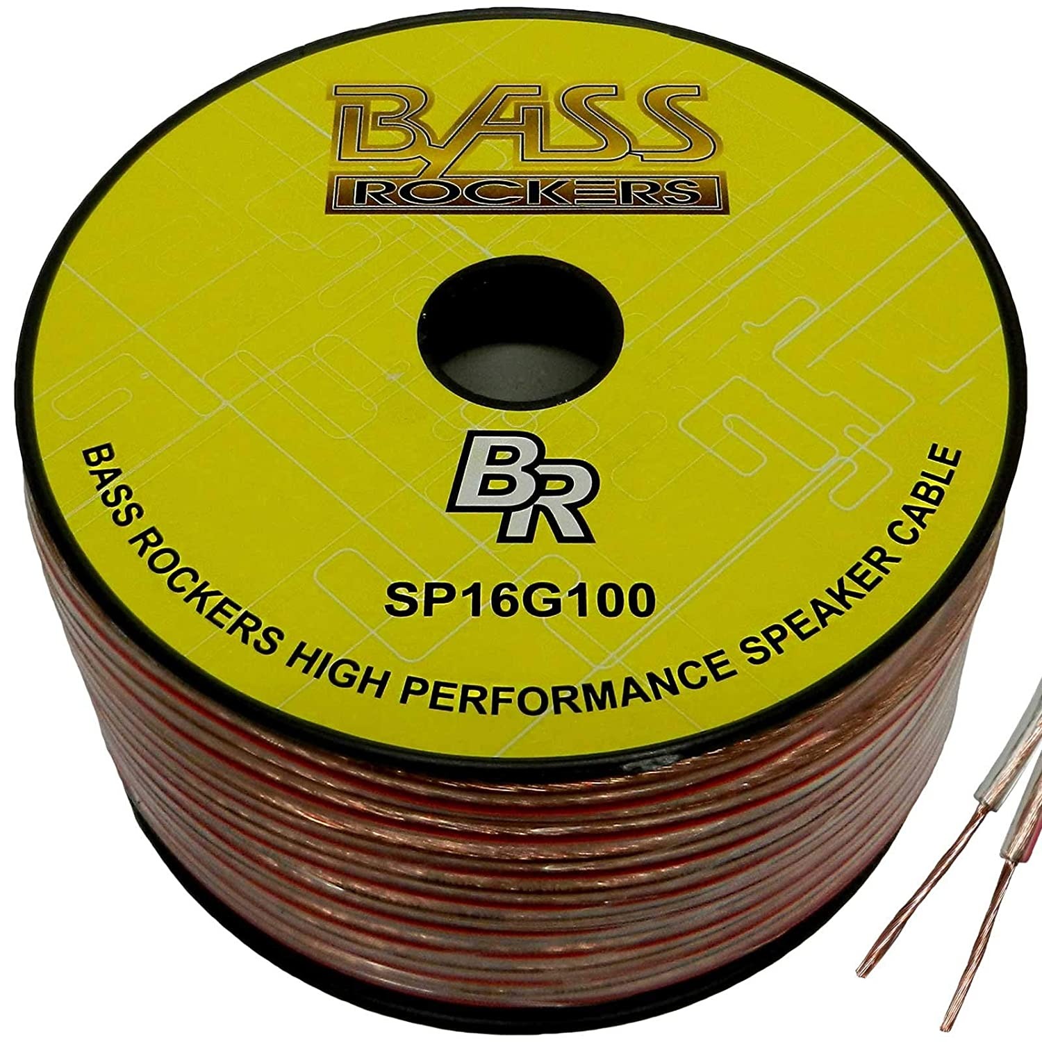 Bass Rockers 16 AWG 100ft Spool Speaker Wire Clear Coating SP16G100