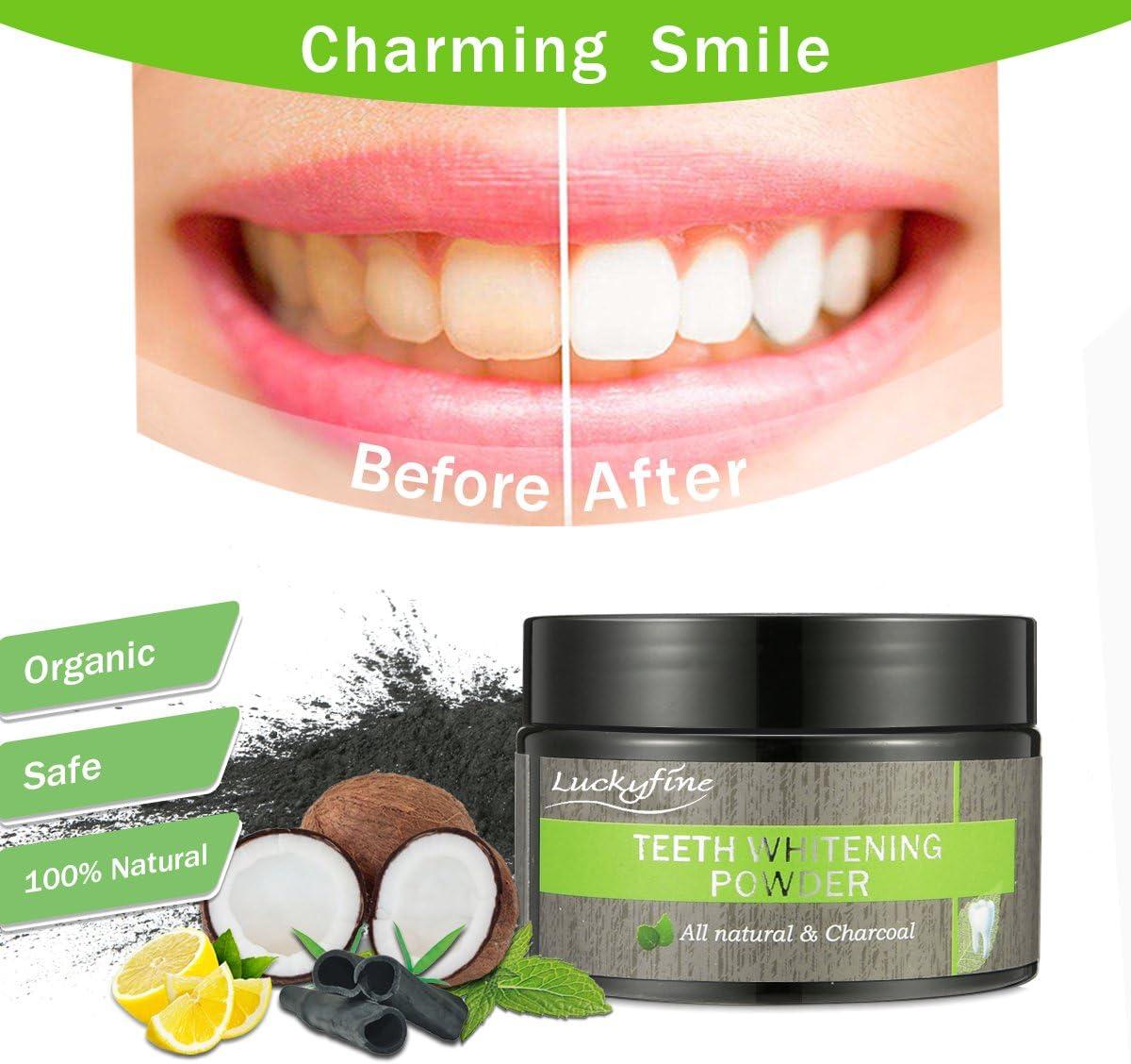Polvo Dientes, Blanqueador Dental de Carbon Activado, LuckyFine ...