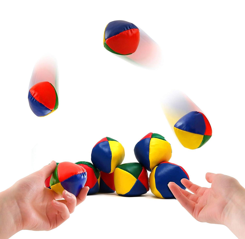 4E's Novelty Bulk Pack of 9 Juggling Balls for Beginners Adorable Mini Soft and Easy Ball Set for Kids