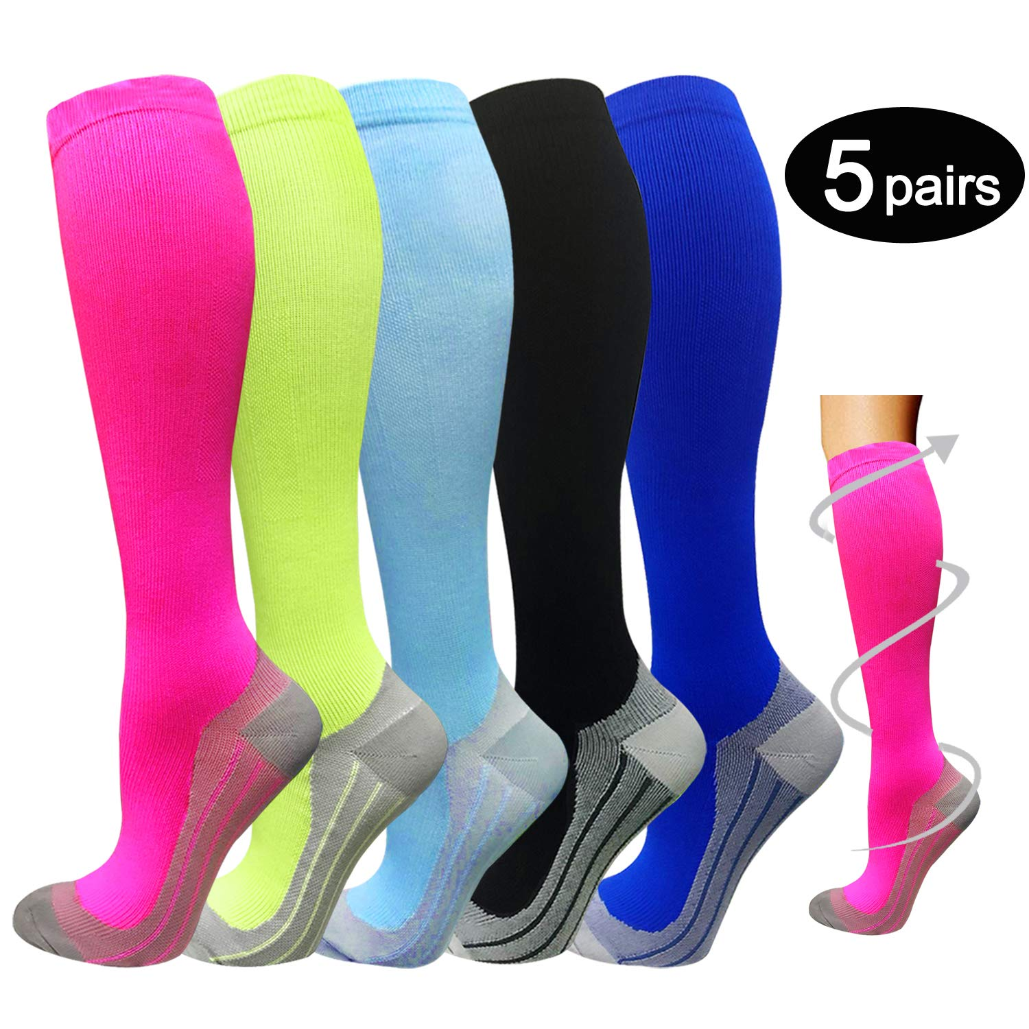 5 Pairs Compression Socks Women & Men -Best Medical,Nursing,Travel & Flight Socks-Running & Fitness,Pregnancy & Maternity-15-20mmHg (S/M, Assorted 4)