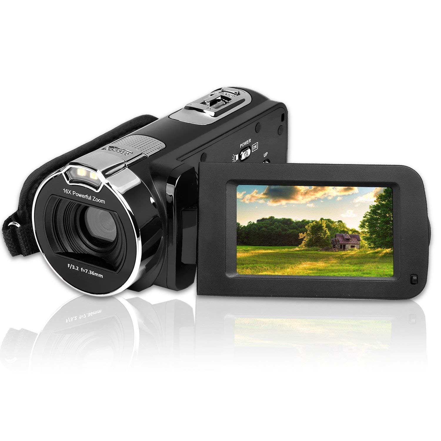 Video Camera Camcorder CamKing HDV-312 24MP HD 1080P 16X Digital Zoom Video Camcorder with 3.0'' LCD and 270 Degree Rotation Screen YouTube Vlogging Camera by CamKing