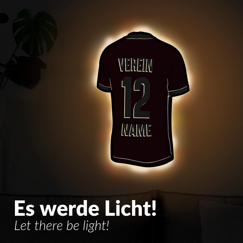 schenke Dein individuellen Stuttgart Fanartikel aus Holz Elbeffekt Trikotlampe f/ür Stuttgart Fans aus Echtholz personalisierbares Geschenk